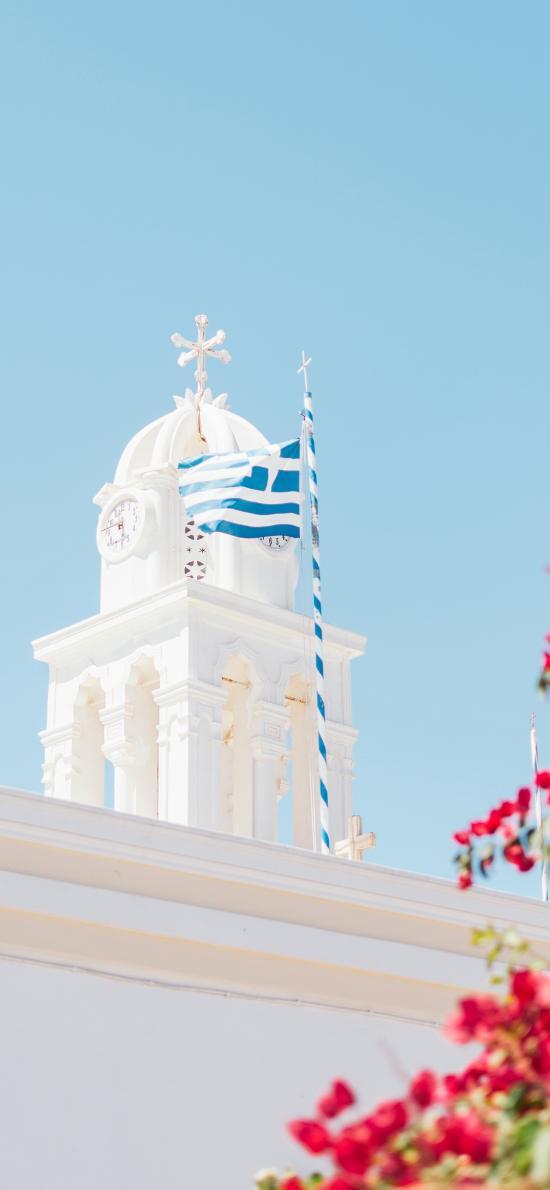 白 教堂 屋顶 旗帜 希腊