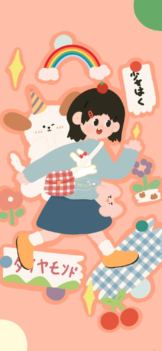 卡通 女孩 彩虹 滑板(取自微博:请你吃番茄呀)