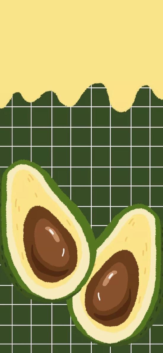 绘画 插画 牛油果 绿色