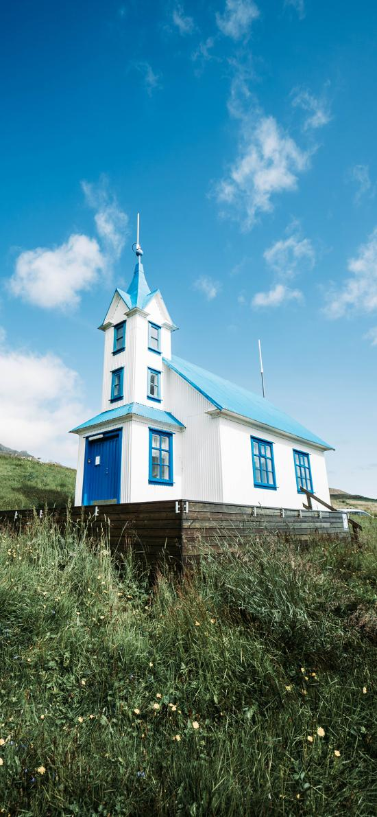 房屋 唯美 藍天 草地
