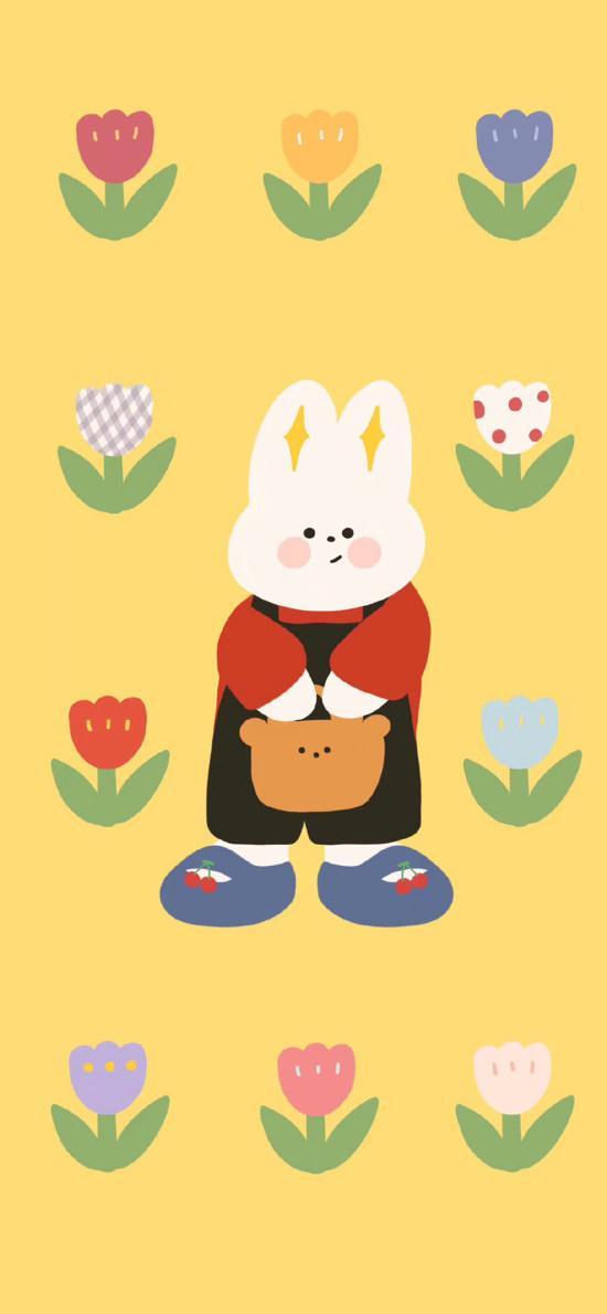 插图 兔子 花朵 平铺(取自微博:请你吃番茄呀)