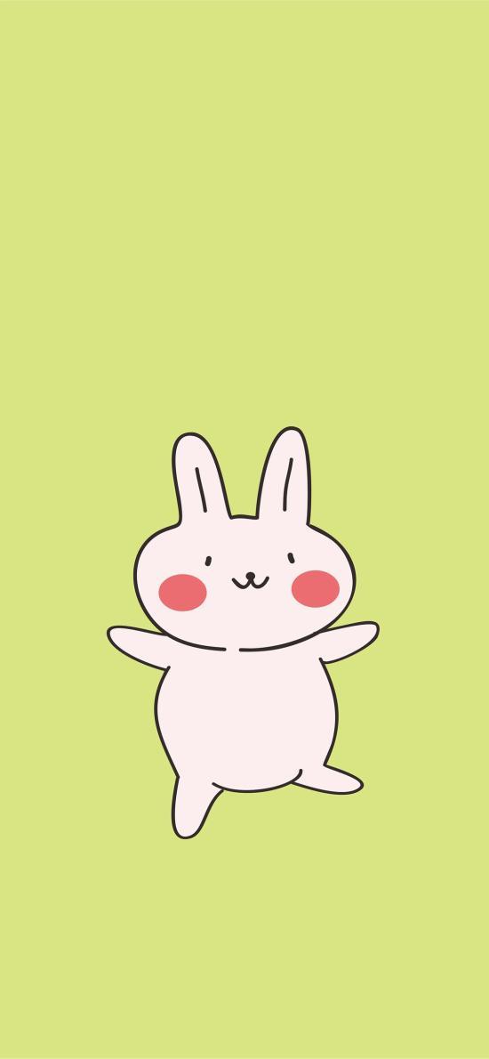 绿色 纯色背景 卡通 小兔子 可爱