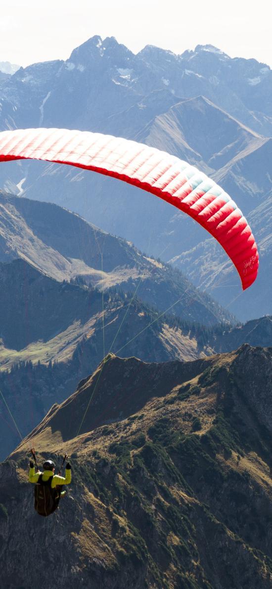 競技 跳傘 群山 山脈