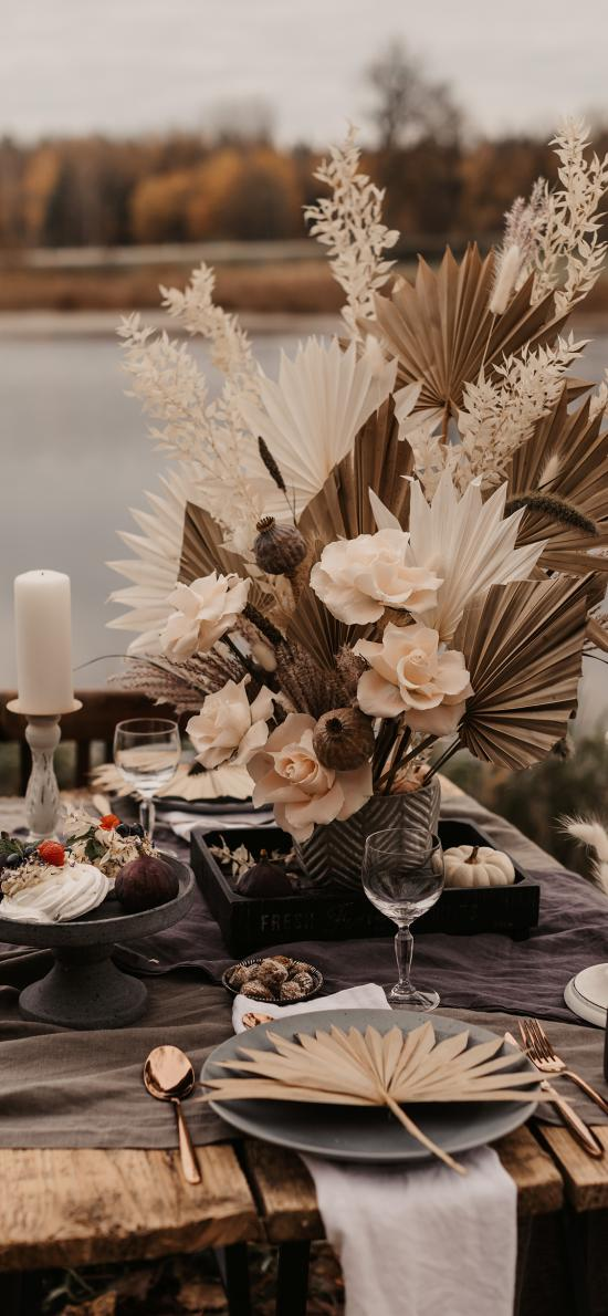 餐具 甜品 鮮花 裝飾 靜物