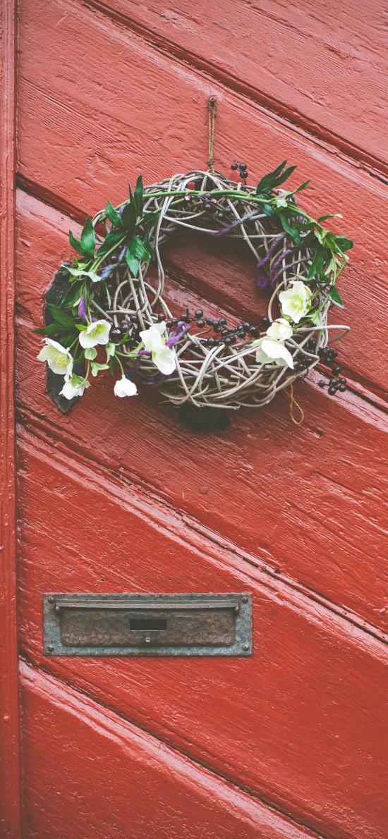 門 紅色 花環 編織