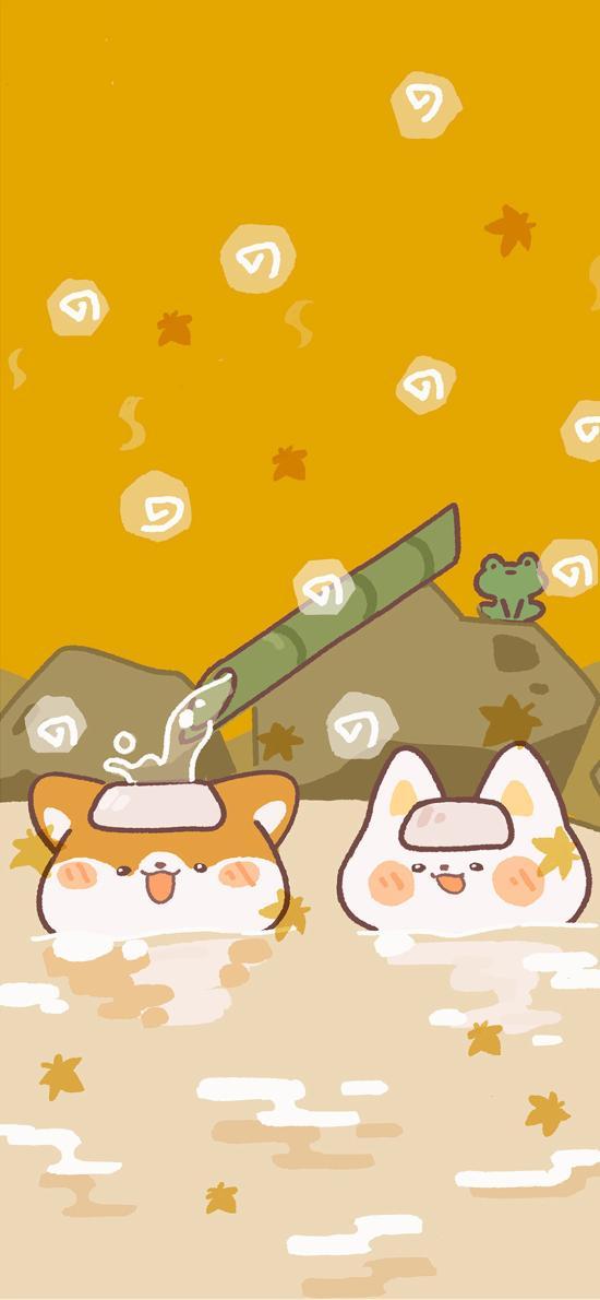 可爱 柴犬 温泉 插画