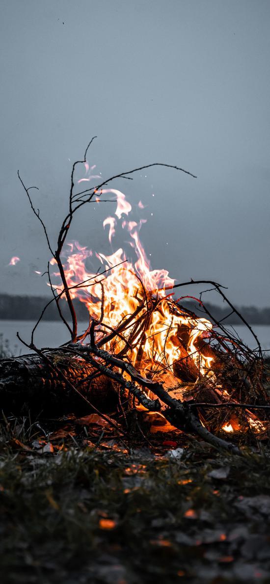 篝火 火焰 燃烧 柴火