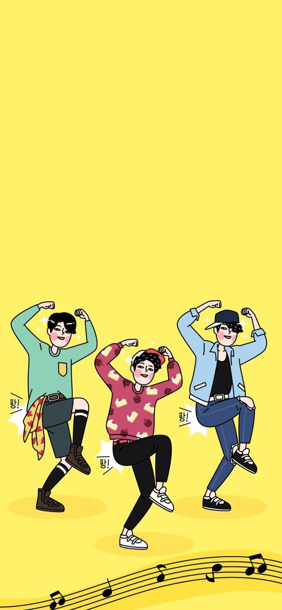 卡通 男孩 跳舞 乐谱