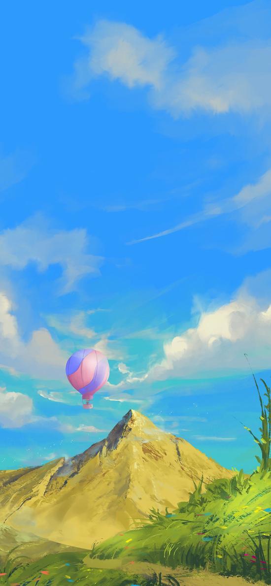 插画 热气球 山顶 蓝天