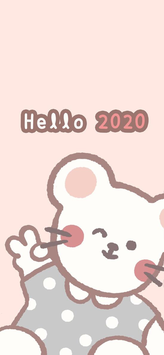 2020 hello 迎新年 卡通