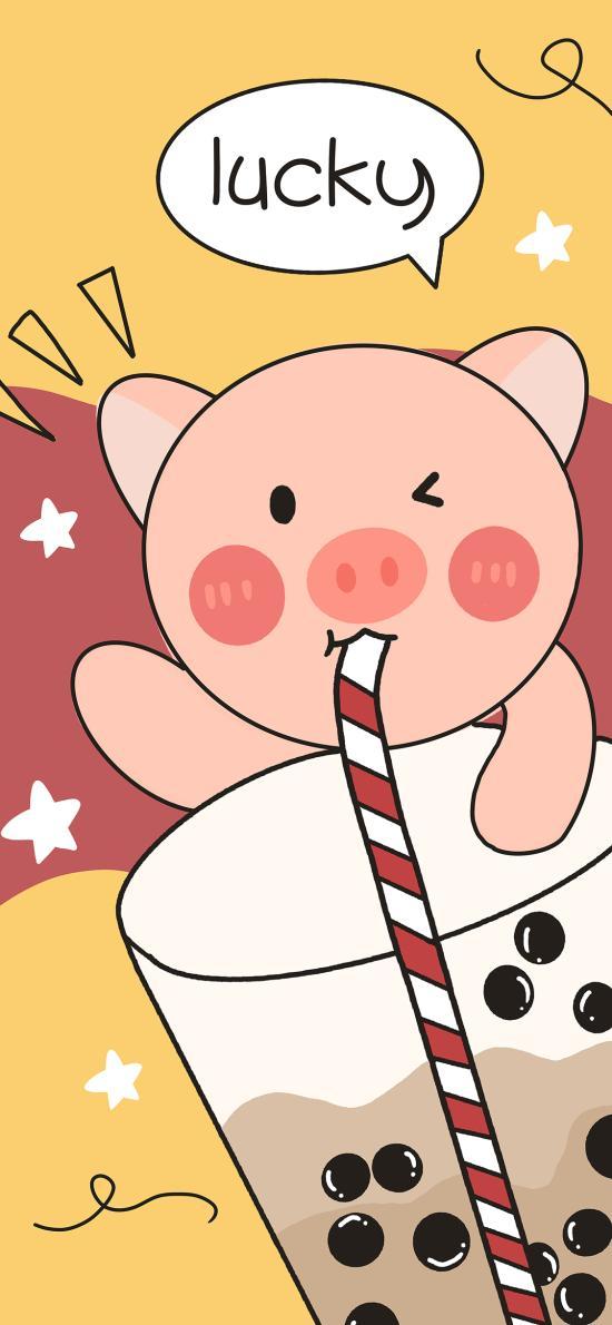 卡通 奶茶 可爱 lucky 猪