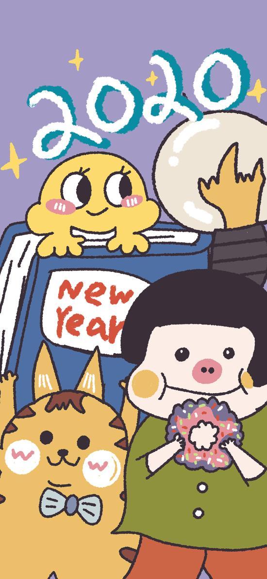 2020 豬妹 new year 卡通