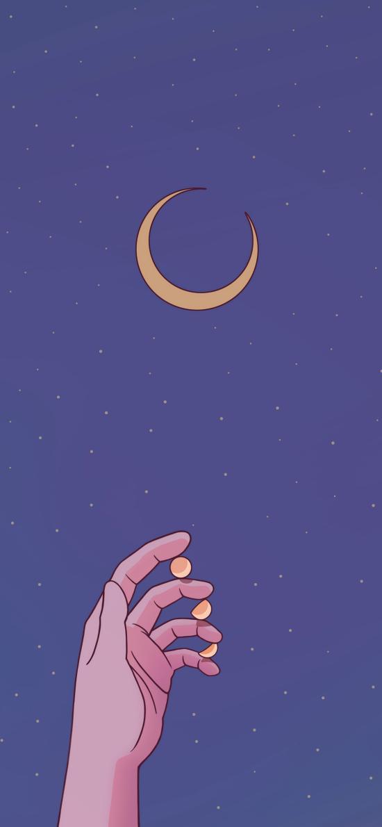月亮 月牙 手 紫色 星空
