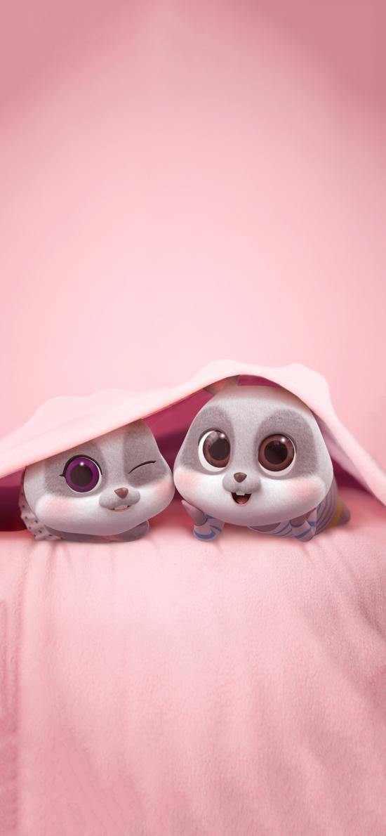 鼠元宝 老鼠 可爱 粉色 被窝