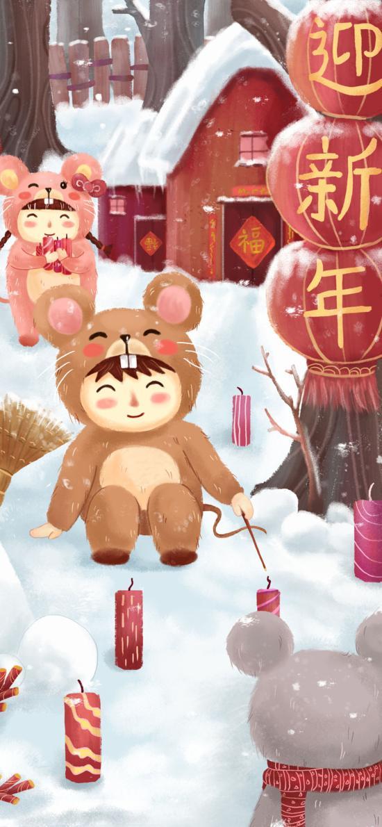 迎新年 雪地 老鼠 鼠年