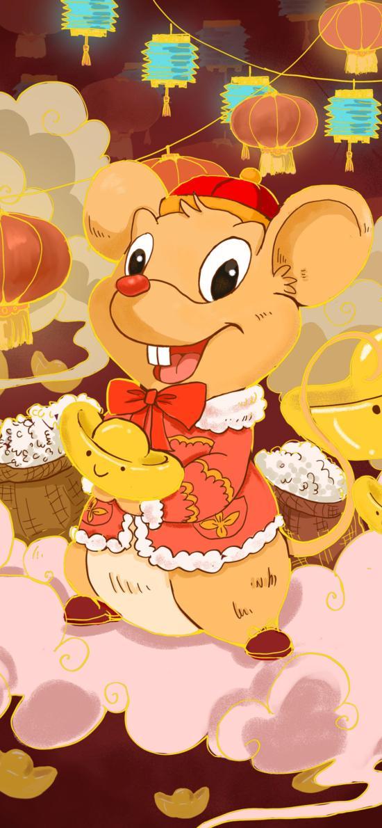 鼠年 插圖 元寶 新年