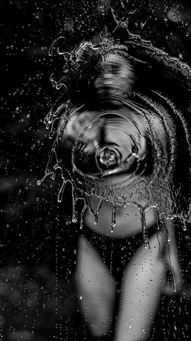 水花 比基尼 性感 黑白