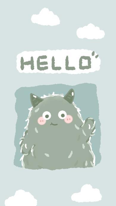 小怪兽 hello 可爱 蓝 小怪兽