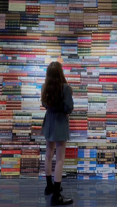 背影 长发 女孩 书本 图书