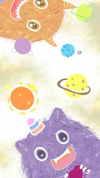 小怪兽 可爱 星球 色彩