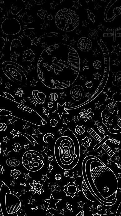 黑白 星球 五角星 渐变