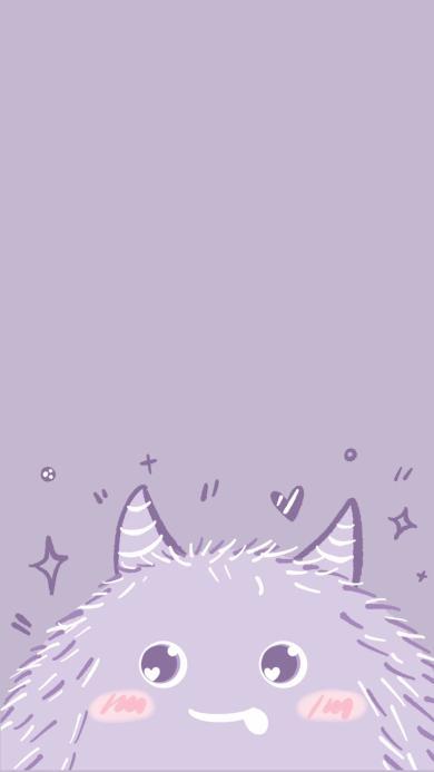 可爱 小怪兽 紫 大眼