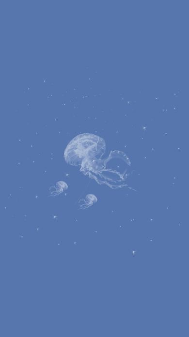 水母 蓝色 透明 海洋生物