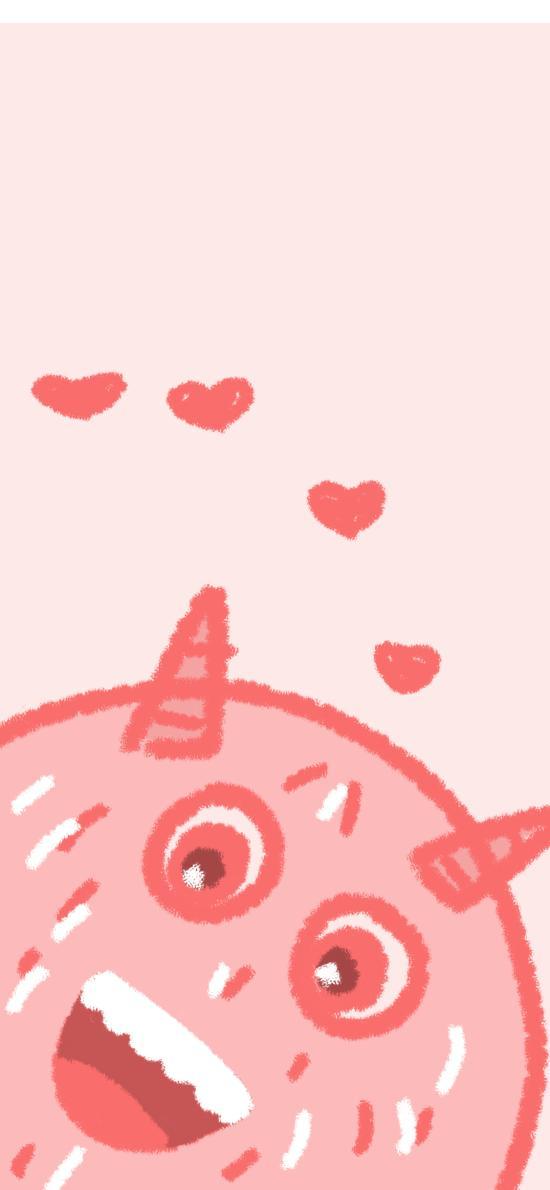 小怪兽 粉 可爱 爱心
