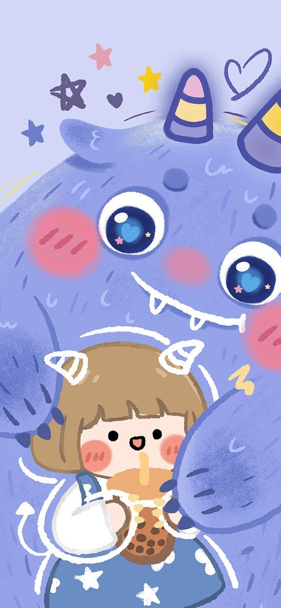 卡通 小怪兽 女孩 珍珠奶茶 蓝