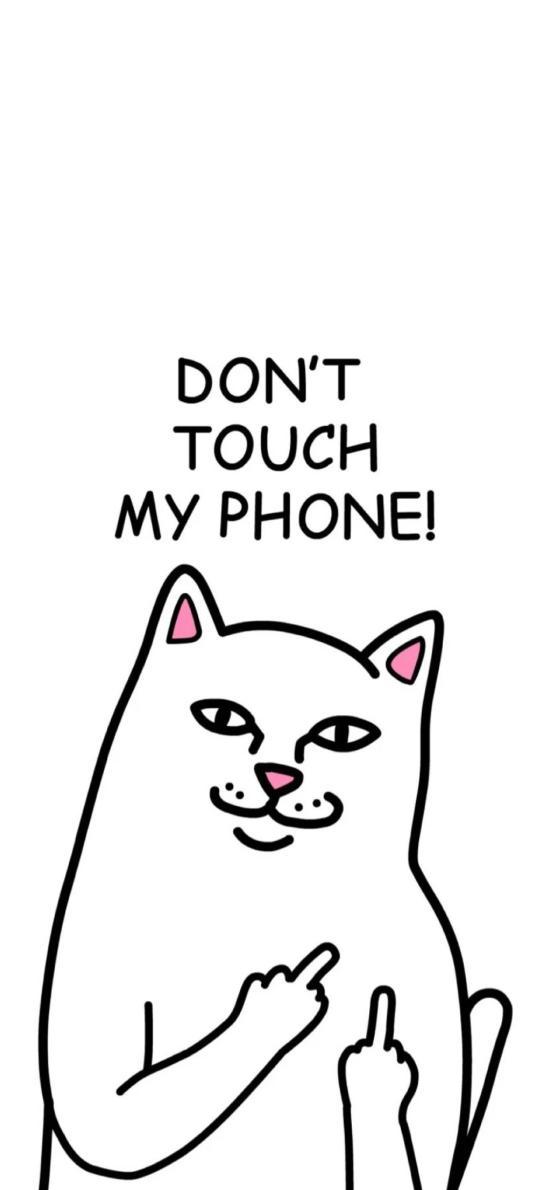 别碰我手机 中指 猫 品牌 don't touch my phone
