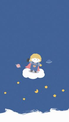 卡通 小王子藍 星球